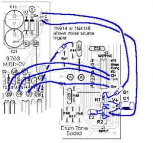 PAiA Drum Tone Board Connections - Diagram