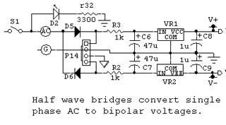 Half wave bridges convert single phase AC to bipolar voltages.